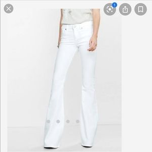 Express Bell Flare Mid Rise Jean White